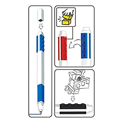 IQ Lego Stationery - Colored Gel Pens 3 Pack with Building Bricks: Office Products
