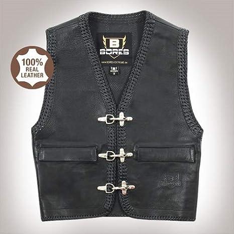 Bores Sunride 5 Leder Lederweste mit Seitlicher Weitenverstellung Gr/ö/ße 5XL Schwarz