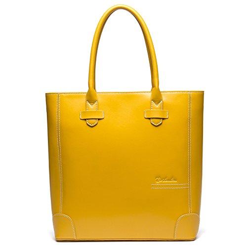 BOSTANTEN Leather Handbags Tote Purses Top-handle Bags for Women Clearance Yellow (Designer Handbag Yellow)