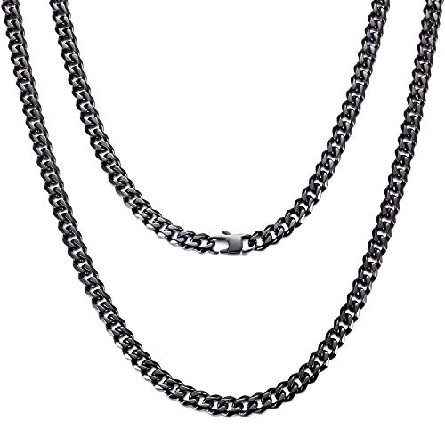 FEEL STYLE Classic Mens Necklace 18K Black Stainless Steel Curb Chain for Men Women Boys 22 Inch (6mm)