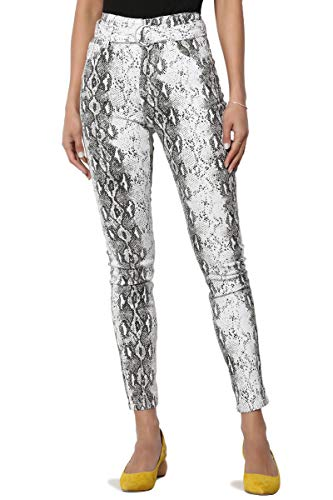 - TheMogan Junior's 5 Pocket Belted High Rise Snake Print Crop Skinny Jeans White 0