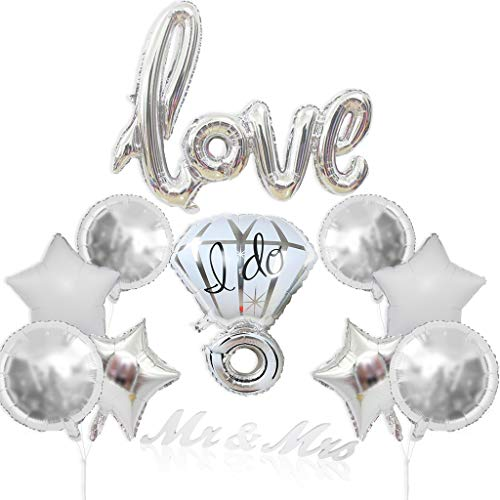 Silver Love Balloons Set, Kicpot 13 Pack Foil Diamond Balloons with Mr&Mrs Photo Props for Romantic Wedding Bridal Shower Anniversary Love Letter Wedding Decor