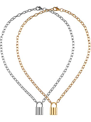 2 Pieces Lock Shape Pendant Necklace Punk Chain Necklace for Women Men Costume Accessory