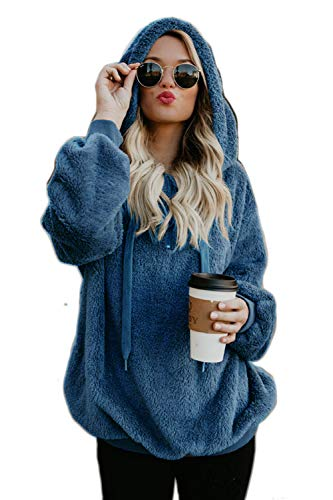 Casual Faux Fur Womens Zamtapary Outwear Jersey Con Top Sudadera Azul Capucha Bf XHq1wg