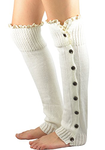 Vintage Button Boot Cuffs Socks with Lace Trim Womens Boutique Long Tube Leg Warmer White