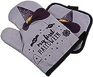 ABOOFAN 1Set Halloween Oven Mitts Non Slip Baking Gloves Cotton Pot Holders Heat Resistant Grill Gloves Heat I