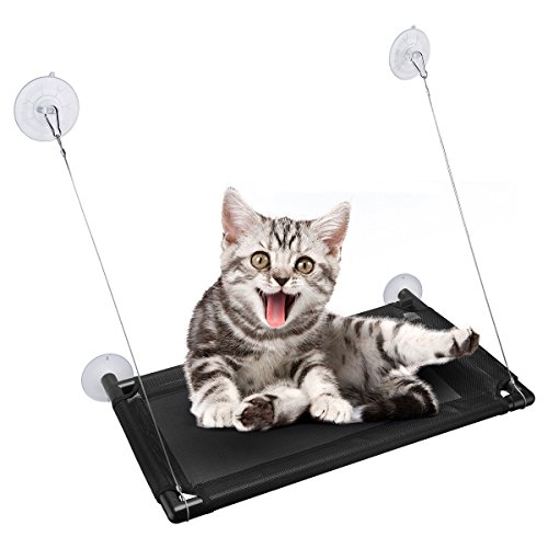 isYoung Cat Window Perch, Mounted Cat Sunshine seat Pet Hammock Kitty Bed Perch Cushion with 4 Ultra Heavy Duty Suction Cups Cat Bed Holds Up to 60lbs