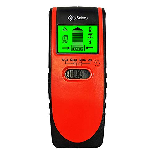 Solexu Digital Wall Stud Finder-4 in 1 Accurate Multi Function Laser Detector Tool-LCD Display and Center Sensor Sound Alert-Scan for Electrical Wire or Wood or Metal through Drywall or Beam or Pipe