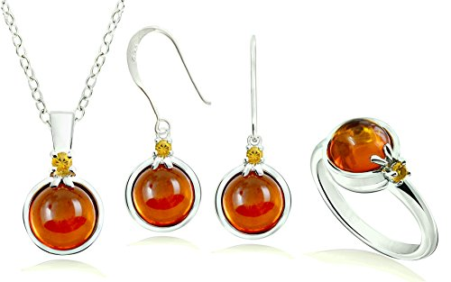 Sterling Silver 925 Jewelry Sets Amber  with RHODIUM-PLATED Finish, 3 Pieces Set