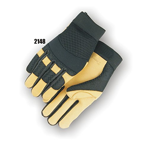 (12 Pair) Majestic GOLD DEERSKIN PALM GLOVES WITH MESH BACK - 2X LARGE, GOLD(2148/12)