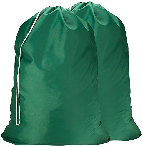 Nylon Laundry Bag - Locking Drawstring Closure and Machine Washable. These Large Bags Will Fit a Laundry Basket or Hamper and Strong Enough to Carry up to Three Loads of Clothes. (Green   2-Pack)