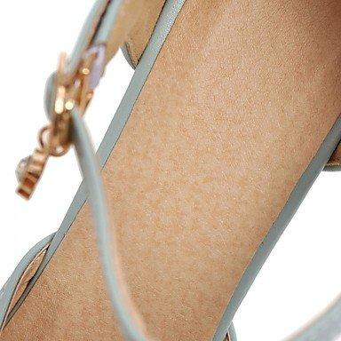 LvYuan Mujer Sandalias Confort Innovador Semicuero PU Verano Otoño Vestido Fiesta y Noche Paseo Confort Innovador Hebilla Tacón RobustoBlanco Blue