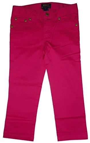 Ralph Lauren Girls Pony Neon Classic Stretch Chino Pants (3T, Pink) (Ralph Lauren Wimbledon)