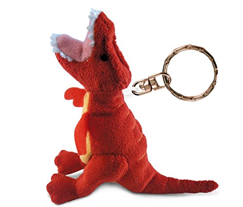 Puzzled Red T Rex Keychain, 4.5 Inch Soft Cute Mini Doll Stuffed Toy Decoration Charm Bag Tote Car Key Organizer Mobile Phone Accessory Decor Ornament Prehistoric Dinosaur Themed Bags Accent