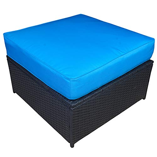 Mcombo Outdoor Patio Black Wicker Furniture Sectional Set All-Weather Resin Rattan Chair Modular Sofas with Water Resistant Cushion Covers 6085 DIY Ottoman, Blue (Modular Rattan)