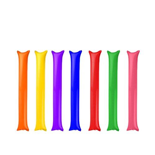 (JUIOKK 7PCS 60x10cm Bam Bam Thunder Inflatable Noisemakers Stick Sets Long Balloon Inflatable Cheer Sticks Inflating Rods in 4 for Kids Birthday Sport Fest)