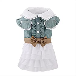 uxcell Fairy Denim Dog Dresses Pet Clothes Charming Cat Shirts Apparel Summer S