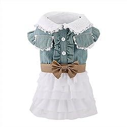 uxcell Fairy Denim Dog Dresses Pet Clothes Charming Cat Shirts Apparel Summer XXL