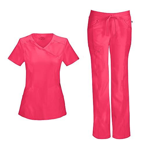 Cherokee Infinity Women's Mock Wrap Scrub Top 2625A & Low Rise Drawstring Scrub Pants 1123A Scrubs Set (Certainty Antimicrobial) (Punch - Medium/Medium)