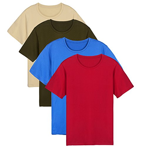 Yunicus Men's Short Sleeve Plain Cotton T-Shirts ( Pack of 4 ) Red/Blue/Beige/Olive Green Small