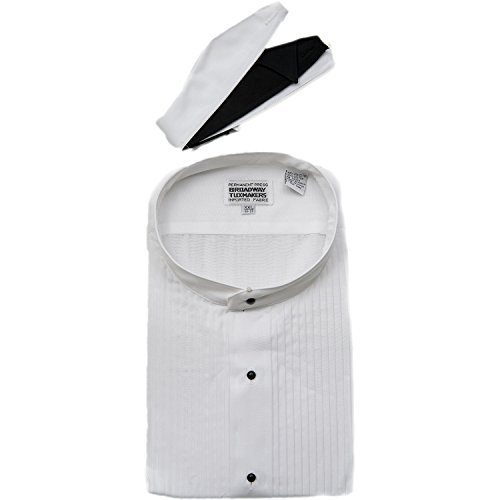 Mens Mandarin No Collar Banded White Tuxedo Shirt By Broadway Tuxmakers (Large ()