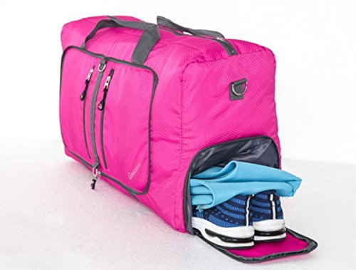 Living Express 60L Water & Tear Resistant Foldable Travel Duffel Bag For Gym, Vacation, Sports,Carry On Luggage with Shoe Pouch(Red)