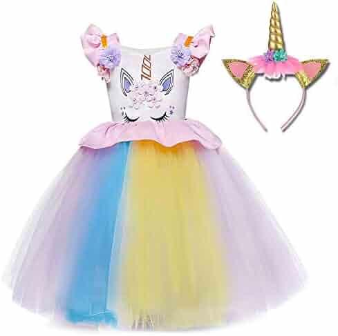 TTYAOVO Flower Girls Unicorn Costume Kids Pageant Princess Party Dress