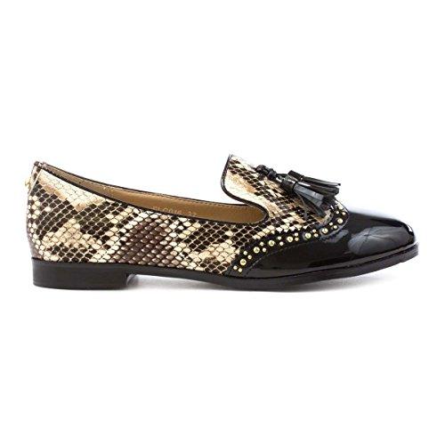 Lunar Womens Black Animal Print Loafer Shoe Black EacK2