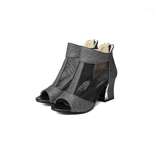 BalaMasa Womens Zipper Chunky Heels Peep-Toe Microfiber Heeled Sandals Black TPidWn