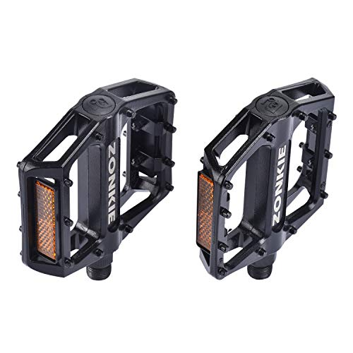 zonkie Bike Pedals, Road Bike Pedals, MTB Pedals, Flat Aluminum Alloy Platform Sealed Bearing Axle 9/16 inch (Best Aluminum Road Bike Under 2000)