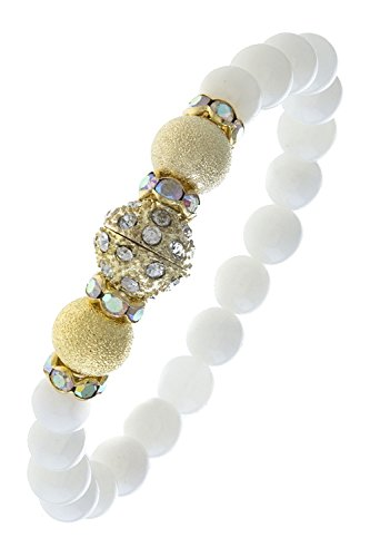 BAUBLES & CO CRYSTAL ACCENT BEADED SEMI PRECIOUS STONE BRACELET (White/Gold)