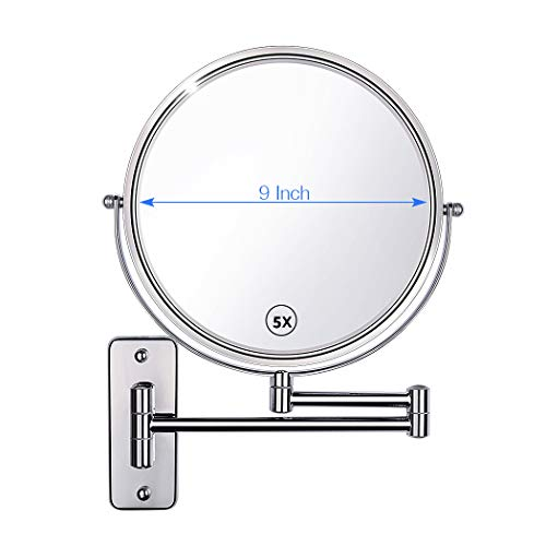Gospire Upgraded 9-Inch Enlarged Wall Mount Makeup Mirror with 5X Magnification Double-Sided Swivel Mirror,Polished Chrome Finished (Chrome Swivel Mirror)