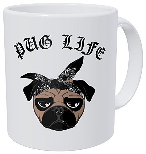 Life Pug (Wampumtuk Pug Life Face Dog With Bandana 11 Ounces Funny Coffee Mug.)