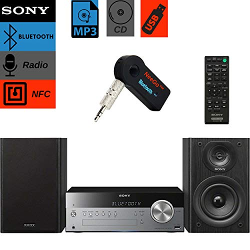 Sony Bluetooth Micro Music System Bundle  [2] Piece Set Includes Micro Hi-fi Shelf System with Single Disc Cd Player, Bluetooth, USB Input, 2-Way, Bass Reflex Speakers NeeGo Bluetooth Receiver;