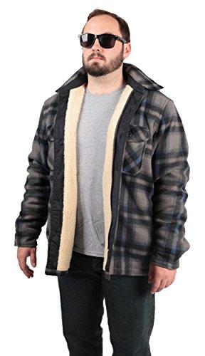 Woodland Supply Co. Plaid Fleece Sherpa Lined Hoodie Jacket (Large, Blue/Grey)