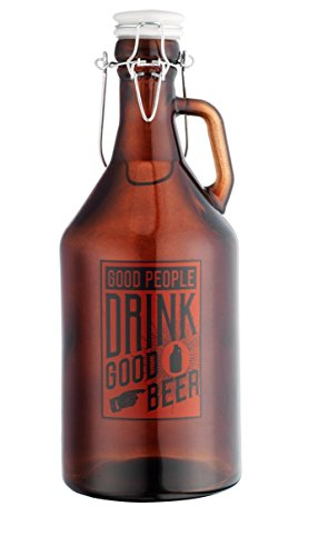 Authentic Good Pepole Drink Good Beer Glass Growler for Beer 1/2 Gallon (64oz) with Hermetic Seal Ceramic Lid