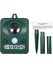 Anself Solar Ultrasonic Pest Repeller Outdoor Animal Repeller with Ultrasonic Sound Motion Sensor and Flashing Light Keep Animals Away Repellent Squirrels Mouse Bird Cat Dog Bat
