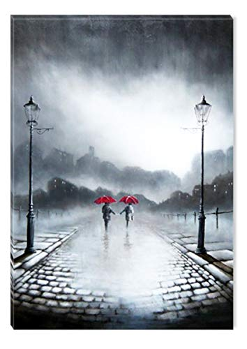 STARTONIGHT Canvas Wall Art Black and White Abstract Two Red Umbrellas, Framed Wall Art 32 x 48 Inches
