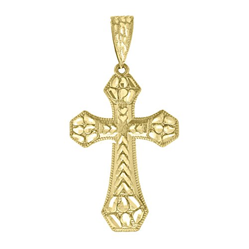 14kt Yellow Gold Mens Nugget Cross Ht:56.9mm Religious Pendant Charm ()