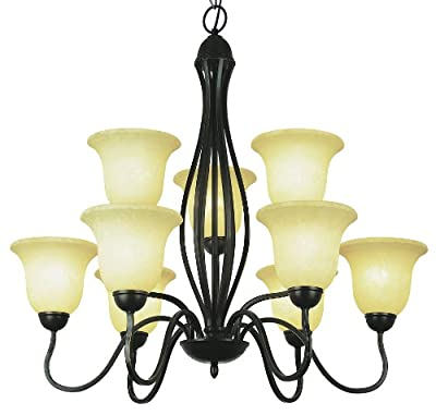 Nine Light Chandelier with Amber Shade in Brushed Nickel