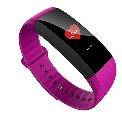 - Smart Bracelet LL Heart Rate Monitor Anti-Lost GPS Line Waterproof Wristband Sport for Android iOS Phone, Purple