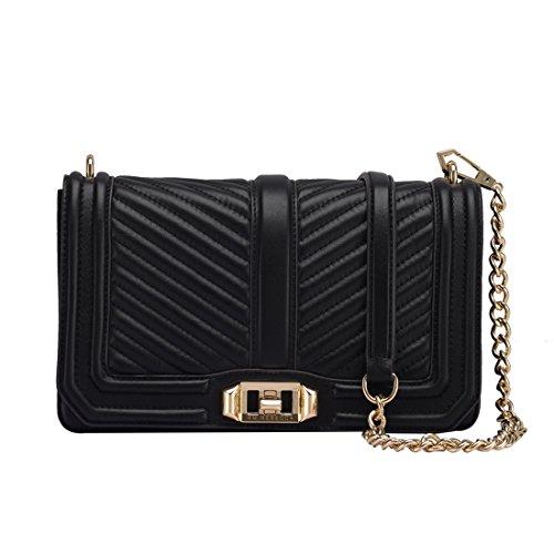 Women's Leather Messenger Bag Mini Chain Bag Adjustable Shoulder BagWomen's Fashion Shoulder Bag Quilting Chain Cross Ladies Handbag (Black) by zhanxianpiju