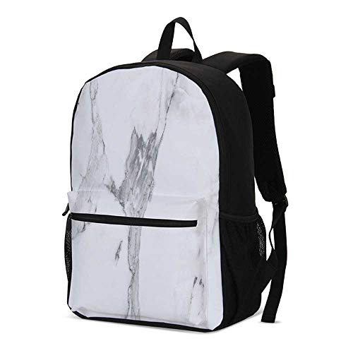 Marble Fashional Backpack,Abstract Stained Hazy Pattern Natural Textured Architectural Background Theme Decorative for School Travel,12.2