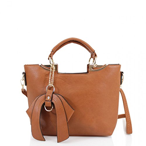 Bow BROWN With Ladies Tote TOTE High Chic Handbag BOW Women's CWS00348 Fashion Handbag LeahWard® Quality wIgfxRq7q