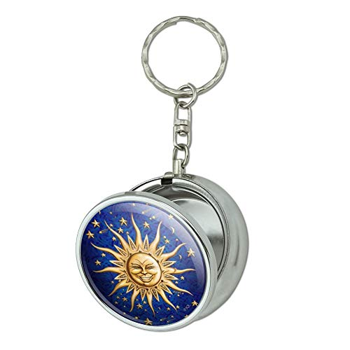 GRAPHICS & MORE Celestial Suns Moon Shooting Stars Portable Travel Size Pocket Purse Ashtray Keychain with Cigarette Holder