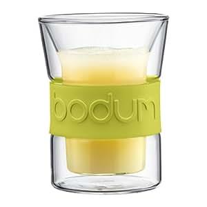 Bodum 10952-565 Presso - Vasos con banda de silicona (2 unidades, 20 cl), color verde