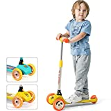 Luddy Kick Scooter for Kids and Toddler – 3-Wheel Folding Scooter 3 Adjustable Height, Lean to Steer for Children from 2 to 6 Years Old- Easy Assembly