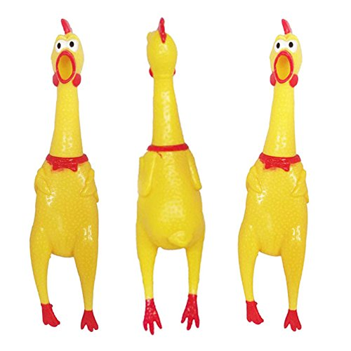 [Small Size 17CM Yellow mini Screaming Rubber Chicken Pet Dog love Toy Squeak Squeaker Chew Gift] (Axolotl Costume)