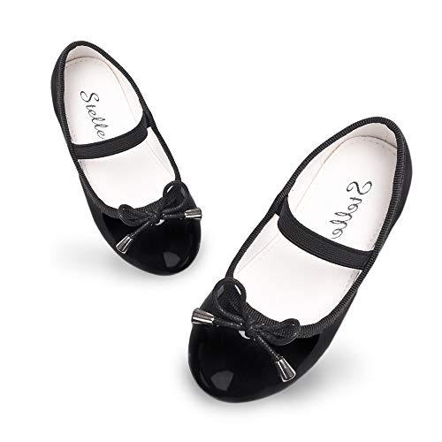STELLE Girls Bow-Knot String Mary Jane Shoes Slip-on Party Dress Flat for Girls (Black, 12ML)