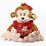 Macaco De Pelúcia 39 Cm Vestido Vermelho Macaco Antialérgico